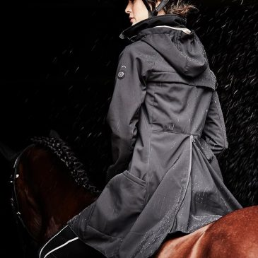 long waterproof horse riding jacket