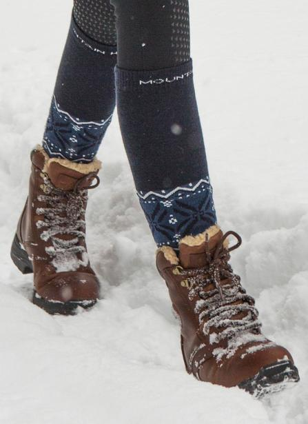 mountain horse snowy river warm riding boot